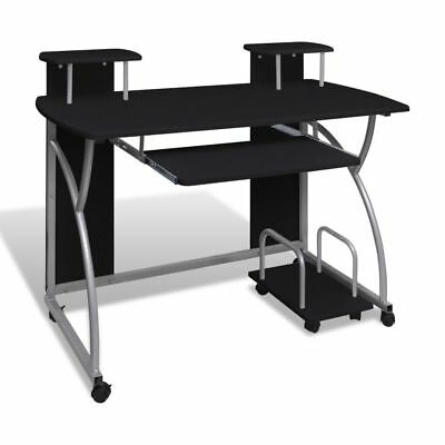 Mobile Computer Desk Pull Out Tray Black Finish Furniture Office#