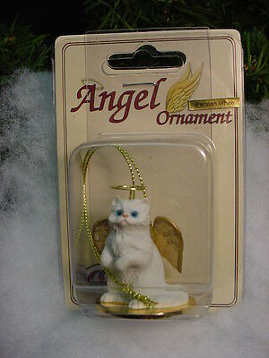 WHITE PERSIAN Kitty CAT ANGEL Ornament HAND PAINTED Resin FIGURINE Christmas