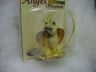 CAIRN TERRIER red dog ANGEL Ornament HAND PAINTED resin FIGURINE Christmas puppy