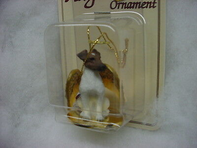 FOX TERRIER brown white dog ANGEL Ornament HAND PAINTED Resin FIGURINE Christmas