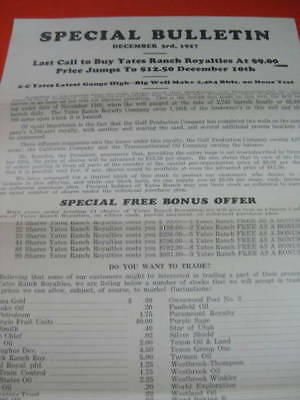 Yates Ranch Royalties Oil Well Wildcat Boom Offer 1927 Ft Worth TX Texas