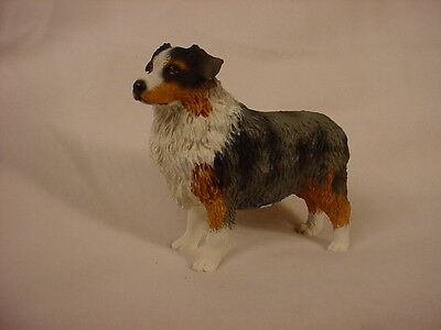 AUSTRALIAN SHEPHERD dog HAND PAINTED FIGURINE Resin BLUE MERLE DOCKED Aussie New