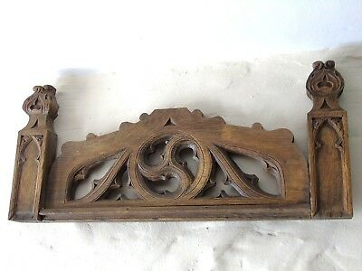 French Vintage Antique Pediment Fronton Plaque Wooden Carving Gothic Stunning