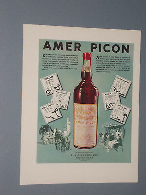 1935 Amer Picon Ad French Aperitif Beverage 39% Alcohol Content Aperitif Ad
