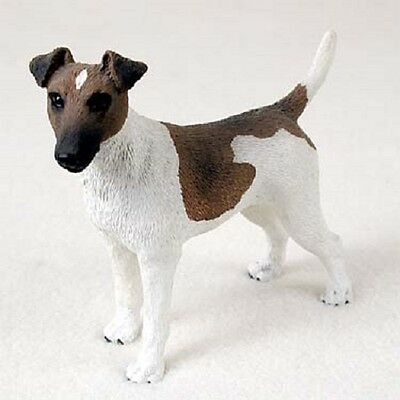 FOX TERRIER Dog HAND PAINTED FIGURINE Resin Statue COLLECTIBLE Brown White Puppy