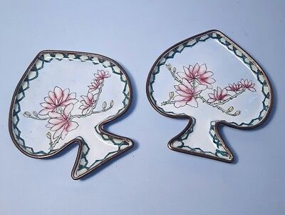 PAIR of CHINESE ENAMELLED SPADE or LEAF SHAPED DISHES