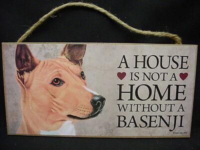 BASENJI A House Is Not A Home DOG wood SIGN wall hanging PLAQUE puppy USA MADE