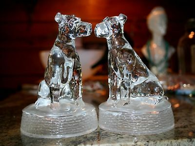 pair VINTAGE Clear & Frosted Glass DOG AIREDALE Figurines bookend paperweight