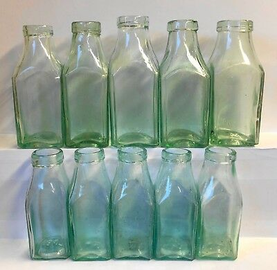 Ten Vintage Large & Small Aqua Glass Wide Mouth Pickle Bottles.