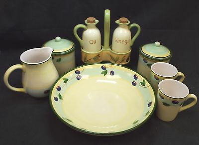 UNMARKED & Hand Painted 9 Pieces Of Kitchen Ware - S25