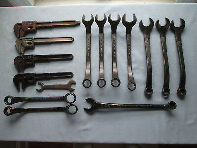 Vintage Mixed Lot Old Set 15 FORD SCRIPT USA Adjustable Etc. Auto Wrenches No R