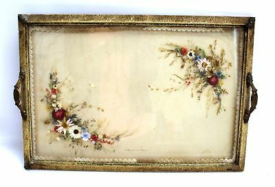 VINTAGE DRIED FLOWERS Decorative Glass Top Serving Tray / UNBOXED - H10