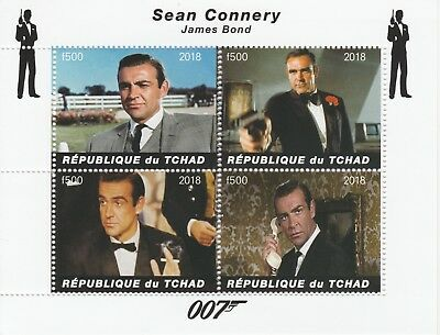 Chad 7572 - 2018  James Bond - Connery perf sheet of 4 values unmounted mint