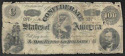 Confederate States - Scarce 100 Dollar Note - 1862