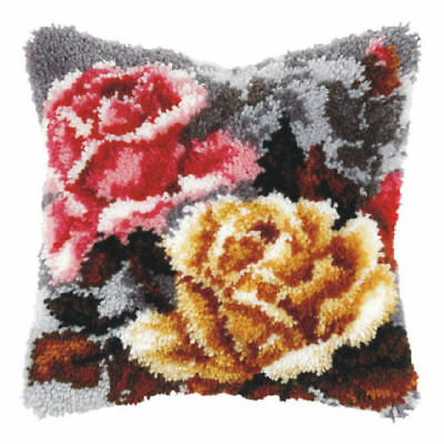 Roses On Grey Latch Hook Cushion Front Kit. Orchidea, 40x40cm Printed canvas