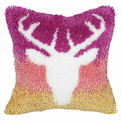 Large Stag Latch Hook Cushion Front Kit. Orchidea, 40x40cm Printed canvas