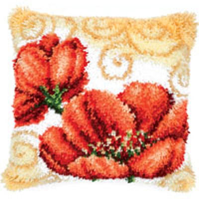 Gold Swirl Poppies Latch Hook cushion front kit by Vervaco 40x40cm Inc Tool