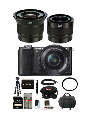 Sony Alpha A5000 Mirrorless Camera with 16-50mm Lens+Zeiss Touit Lens Bundle