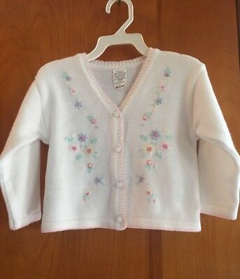 Baby girl toddler vintage cardigan sweater Floral size 2T Sears