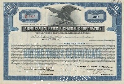 3 American Utilities & General Co 1929-1930 Stock Certificates-some with Stamps