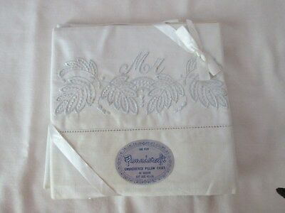 Vintage NEW OLD STOCK Embroidered MR & MRS White Pillowcases