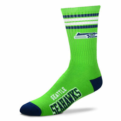 Seattle Seahawks Adult 4 Stripe Deuce Team Color Socks-1pair-Large New Free S/H