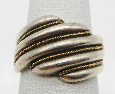 BEAUTIFUL Sterling Silver / Solid 18k Yellow Gold Ladies Ring Size 6