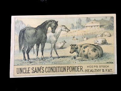 Victorian Trade Card=UNCLE SAM'S Condition POWDER-Horse-Cow-Sheep-Hog=Chicago-IL