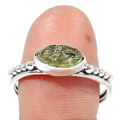 Moldavite 925 Sterling Silver Ring Jewelry s.9 RR179584