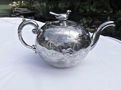 Antique S.e.asia Sterling Silver Bird Topped Safari Animals Etched Tea Pot,