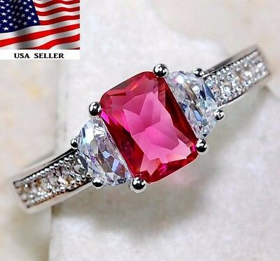 2CT Ruby & White Topaz 925 Solid Genuine Sterling Silver Ring Jewelry Sz 7