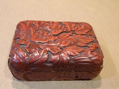 Cinnabar Card Box Black Lacquer Embossed Flowers & Leaves Vintage