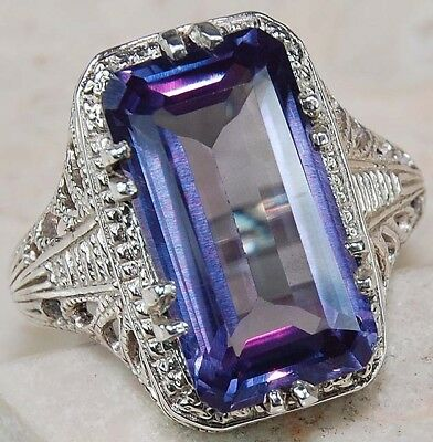 10CT Color Changing Alexandrite 925 Sterling Silver Filigree Ring Jewelry Sz 8