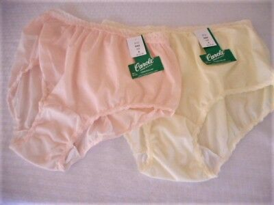 Lot Of 2 Caroles Pink & Lemon Linen Textured Nylon Full Cut Panty Brief Xl/8 Nwt