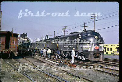 Original Slide - New York Central NYC 1608 F-7 Action on Freight Detroit MI 1964