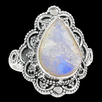 Bali Design - Moonstone Rough 925 Silver Ring Jewelry s.10 RR168803