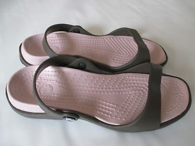Crocs Cleo Sandals, Women's Size 9 Chocolate/Cotton Candy NWT FREE USA SHIPPING