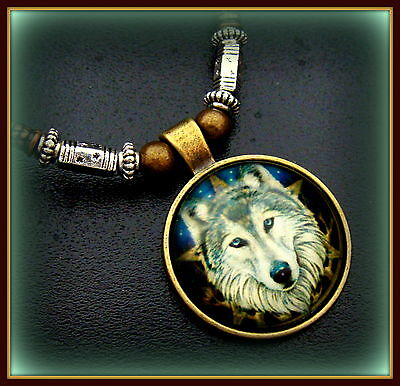 WOLF Head Necklace Pendant Jewelry - Glass Cabochon - Unique Beadwork