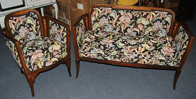 Antique Edwardian Settee And Chair Set Wood Marquetry Inlaid Mother Of Pearl