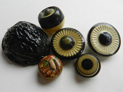 Mixed Lot of Vintage Celluloid Buttons Black/Tan & Walnut Shell