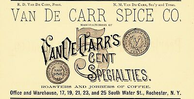 1891 Van De Carr Spice Company, Rochester, New York Advertisement