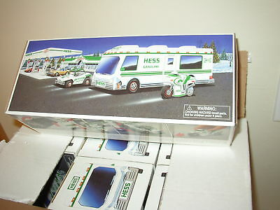 Brand New 1998 Hess Truck Recreation Van Dune Buggy & Motorcycle From new case