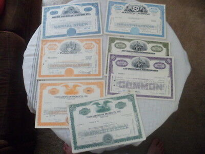 Canceled Stock Certifacates Lot of 7 North American Aviation Perkin-Elmer More