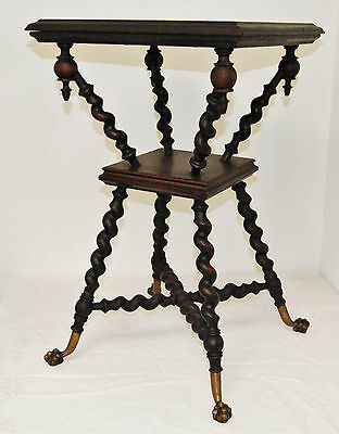 Antique Merklin NY Barley Twist Lamp Table Plant Stand Bronze Feet Acorn Finials