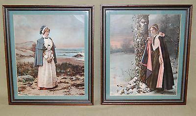 Antique Beautiful Lithograph Advertisement Pair By Ullman Manufacturing Co. NY