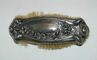 Antique Empire Art Silver Plated Ladies Vanity Clothing Brush Repousse Roses