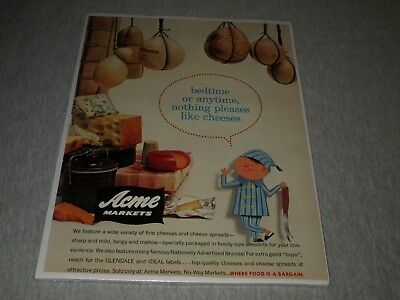 ACME MARKETS-NOTHING PLEASES LIKE CHEESES-MID-CENTURY-1950s ERA PRINT AD