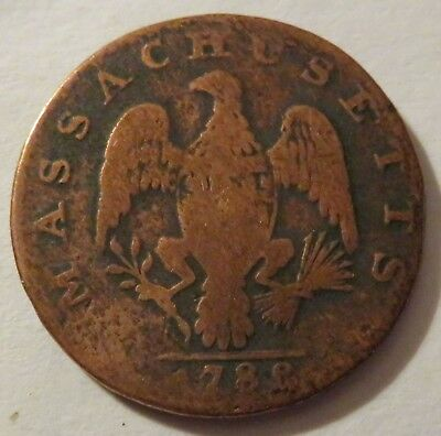 1788 Massachusetts Large Cent, Classic Colonial Penny 1C coin   (192121G)