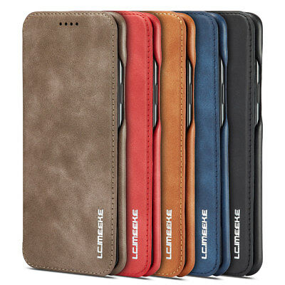 For Samsung S9 Plus S8 Note 8 Flip Magnetic Leather Case Card Wallet Cover Stand