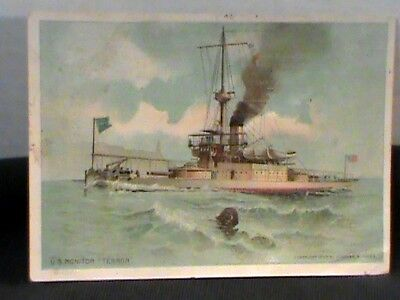 Singer Sewing Machine trade card: view of Am. Naval Ship Monitor Terror w/stats
